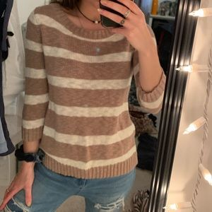 knit beige and white striped sweater